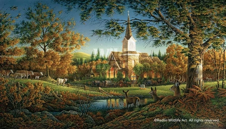 """Terry Redlin Hand Signed and Numbered Limited Edition Print:""""Sunday Morning"""""""