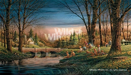 "Terry Redlin Hand Signed and Numbered Limited Edition Master Canvas:""Spring Fishing"""