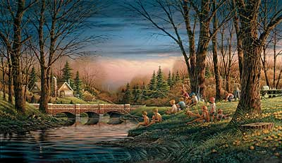 """Terry Redlin Handsigned and Numbered Limited Edition Artist Proof Print: """"Spring Fishing"""""""