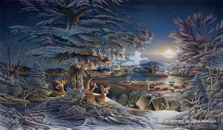 """Terry Redlin Handsigned and Numbered Limited Edition: """"Evening on the Ice"""""""