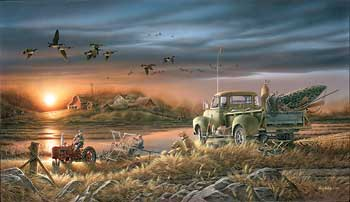 """Terry Redlin Handsigned and Numbered Limited Edition: """"Patiently Waiting W/ Companion print"""""""