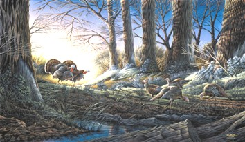 "Terry Redlin Handsigned and Numbered Limited Edition Print: ""Strutting on In """