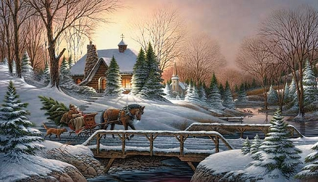 """Terry Redlin Limited Edition Handsigned & Numbered 2006 Christmas Print:""""Heading Home (Remarque) """""""