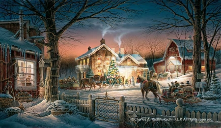 """Terry Redlin Artist Hand Signed and Numbered Limited Edition Print: """"Trimming the Tree"""""""