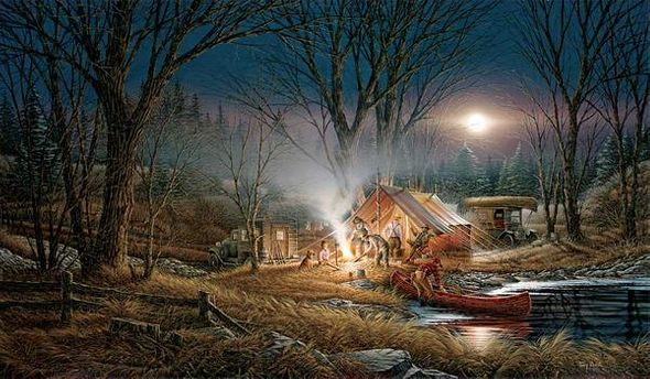 """Terry Redlin Museum Edition Oversize Canvas:""""Campfire Tales"""""""