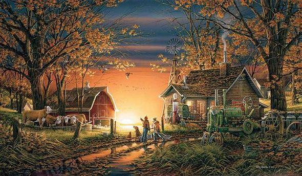 "Terry Redlin Open Edition Fine Art Canvas:"" Morning Surprise"""