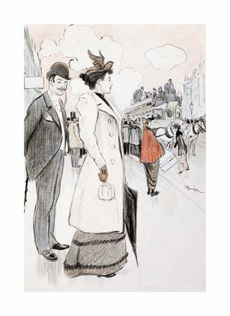 "Theophile Steinlen Fine Art Open Edition Giclée:""A Couple Waiting for a Bus"""