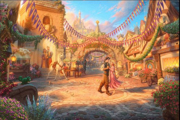 """Thomas Kinkade Studios 50th Disney Limited Edition Giclee:""""Rapunzel Dancing in the Sunlit Courtyard (Tangled)"""""""