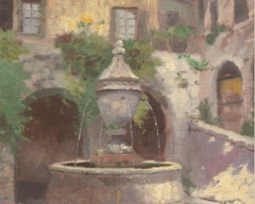 "Thomas Kinakde Limited Edition Italian Plein-Air Print:""Tuscan Village Fountain"""
