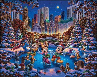 "Eric Dowdle Artist Signed Limited Edition Giclee Print:""Mickey and Friends Skating in Central Park"""