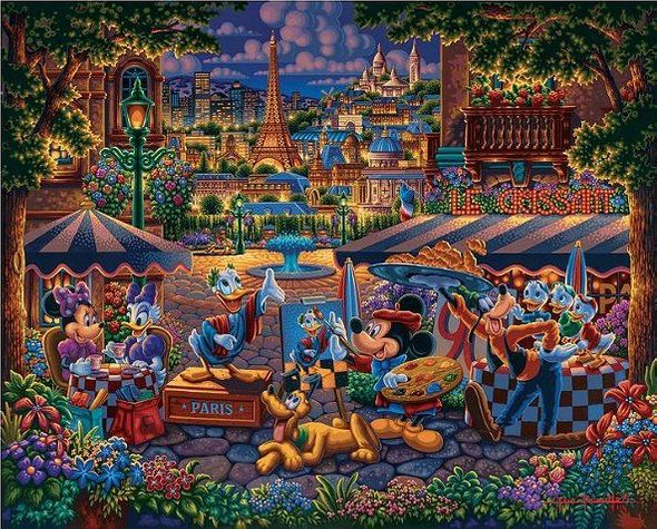 """Eric Dowdle Artist Signed Limited Edition Giclee Print:""""Mickey and Friends Painting in Paris"""""""