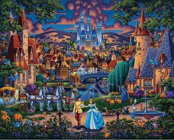 "Eric Dowdle Artist Signed Limited Edition Giclee Print:""Cinderella's Enchanted Evening"""