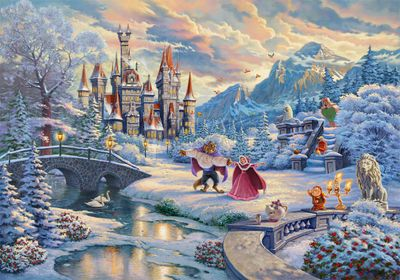 "Thomas Kinkade Disney Limited Edition Giclee:""Beauty and the Beast's Winter Enchantment"""