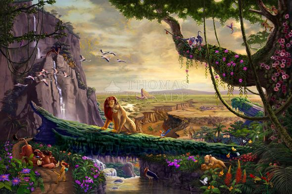 "Thomas Kinkade Disney Limited Edition Gallery Exclusive  Giclee: ""Lion King Return to Pride Rock"""