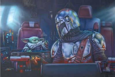 """Thomas Kinakde Studios Star Wars Limited Edition Giclee:""""The Mandalorian – Two For The Road"""""""