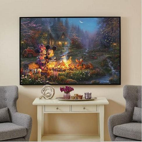 """Thomas Kinakde Framed 40x60 Gallery Wrapped Canvas:""""Mickey and Minnie – Sweetheart Campfire"""""""