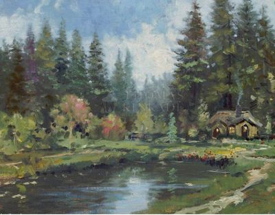 """Thomas Kinakde Limited Edition Plen Air Print:""""Cottage in the Pines"""""""