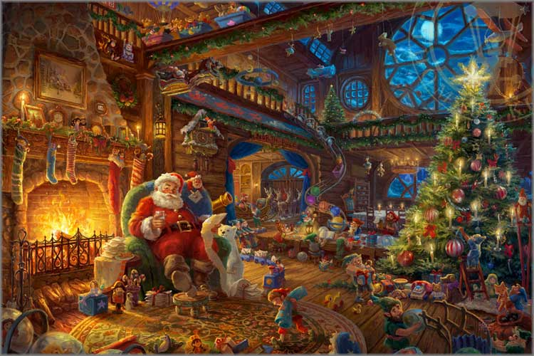 Thomas Kinkade Christmas.Thomas Kinkade 2017 Limited Edition Christmas Print Santa
