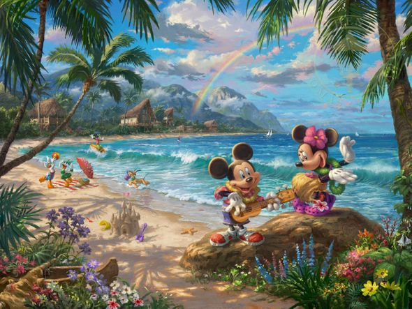 "Thomas Kinkade Disney Limited Edition:""Mickey and Minnie in Hawaii"""