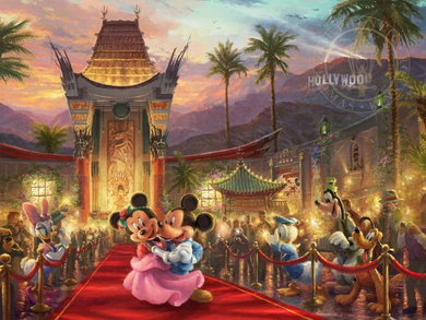 "Thomas Kinkade Disney Limited Edition:""Mickey and Minnie in Hollywood"""