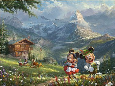 "Thomas Kinkade Disney Limited Edition:""Mickey and Minnie in the Alps"""