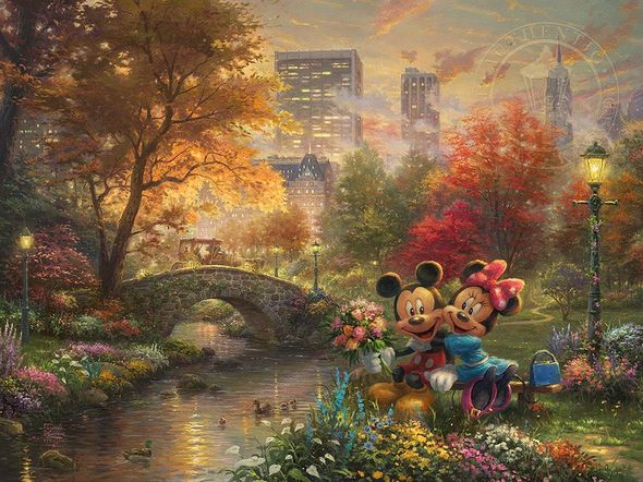 "Thomas Kinkade Disney Limited Edition:""Mickey and Minnie - Sweetheart Central Park"""