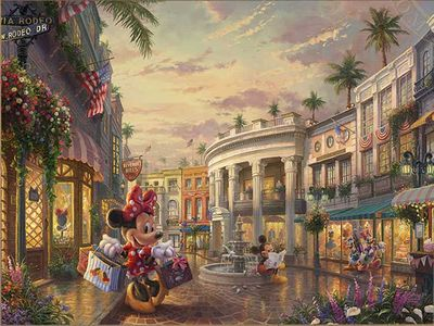 "Thomas Kinkade Disney Limited Edition:""Minnie Rocks the Dots on Rodeo Drive"""