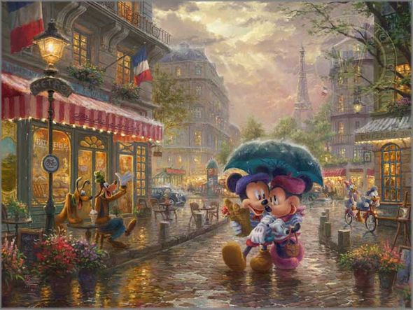 "Thomas Kinkade Disney Limited Edition:""Thomas Kinkade - Mickey and Minnie in Paris"""