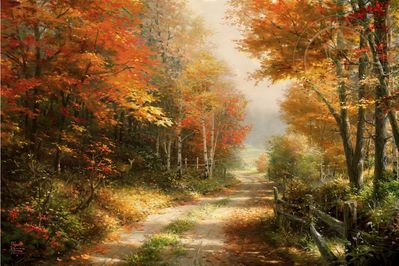 "Thomas Kinkade Limited Edition Art:""A Walk Down Autumn Lane"""