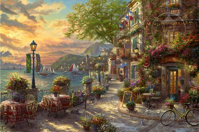 """Thomas Kinkade Limited Edition Giclee on Paper and Canvas:""""French Riviera Café"""""""