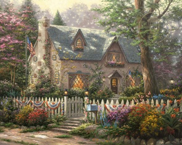"Thomas Kinkade Limited Edition Giclee on Paper and Canvas:""Liberty Lane Cottage"""