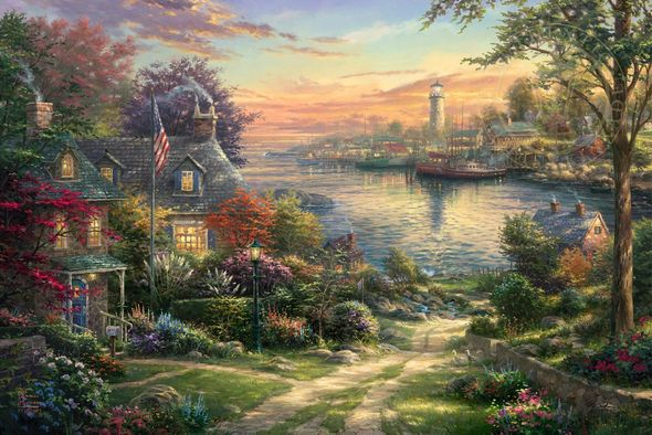 """Thomas Kinkade Limited Edition Giclee on Paper and Canvas:""""New England Harbor"""""""