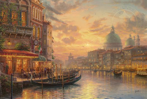 "Thomas Kinkade Limited Edition Giclee on Paper and Canvas:""Venetian Café"""