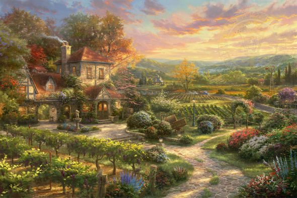 """Thomas Kinkade Limited Edition Giclee on Paper and Canvas:""""Wine Country Living"""""""