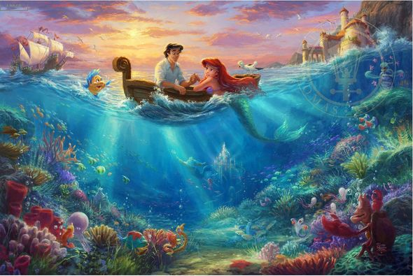 "Thomas Kinkade Limited Edition Giclee Print / Hand Embellished Canvas:""Little Mermaid Falling in Love"""