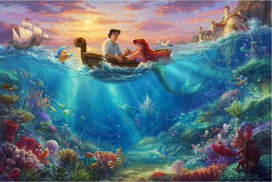 """Thomas Kinkade Limited Edition Giclee Print / Hand Embellished Canvas:""""Little Mermaid Falling in Love"""""""