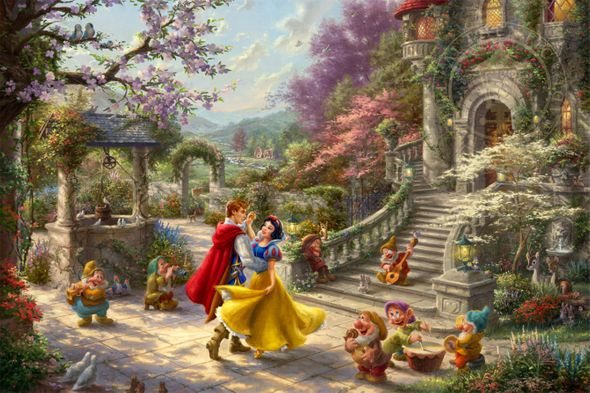"""Thomas Kinkade Limited Edition Giclee Print / Hand Embellished Canvas:""""Snow White Dancing in the Sunlight"""""""