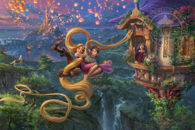 "Thomas Kinkade Limited Edition Giclee Print / Hand Embellished Canvas:""Tangled Up In Love"""