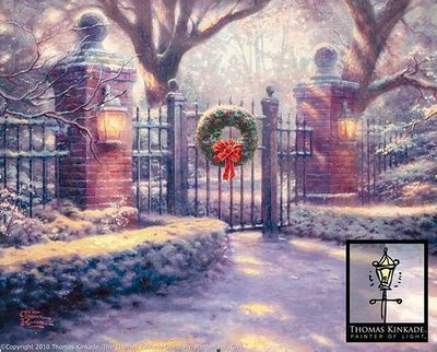 "Thomas Kinkade Signed and Numbered Hand Embellished 2010 Christmas Limited Edition Fine Art Canvas Giclee:""Christmas Gate"""