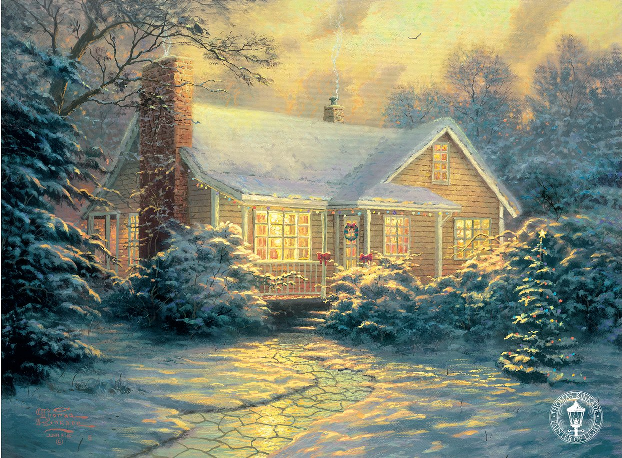 Thomas Kinkade Christmas.Thomas Kinkade Signed And Numbered Limited Edition Embellished Canvas Christmas Cottage