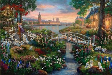 """Thomas Kinkade Signed and Numbered Limited Edition Giclee Print and Hand Embellished Canvas:""""101 Dalmatians"""""""