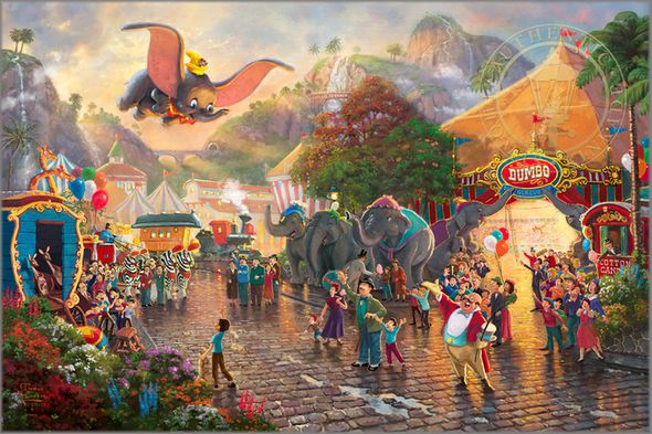"Thomas Kinkade Signed and Numbered Limited Edition Giclee Print and Hand Embellished Canvas:""Disney Dumbo"""