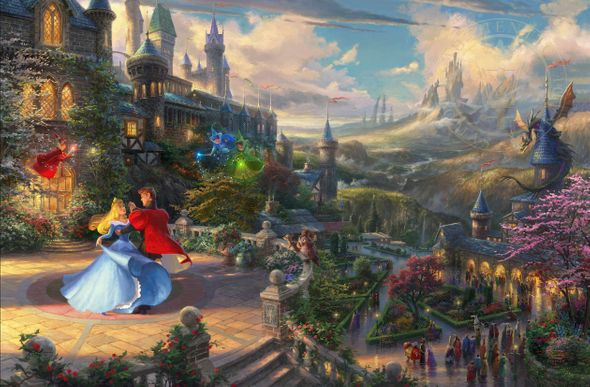 """Thomas Kinkade Signed and Numbered Limited Edition Giclee:""""Sleeping Beauty Dancing in the Enchanted Light"""""""