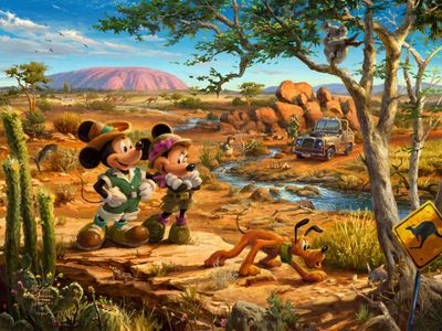 "Thomas Kinkade Limited Edition Disney Dreams Fine Art Giclee: ""Mickey and Minnie in the Outback"""