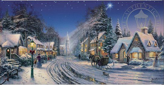 "Thomas Kinkade Studios Hand Highlighted Limited Edition Wrap:""Starlight Evening"""