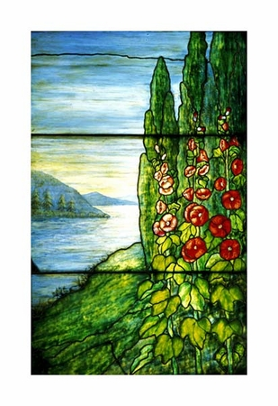 """Tiffany Studios Fine Art Open Edition Giclée:""""Red Blossoming Hollyhocks and Arbor Vitae"""""""