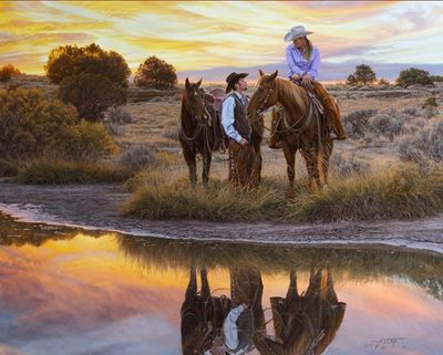 """Tim Cox Hand Signed and Numbered Limted Edition Canvas Giclee:""""Date Night"""""""