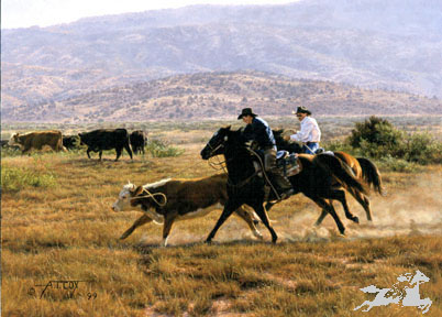 """Tim Cox Handsigned and Numbered Limited Edition Print:""""Cordoza Cowboys"""""""
