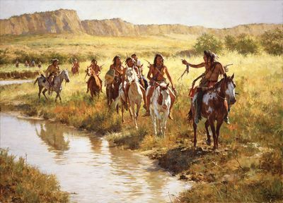 """Howard Terpning Ltd Ed Canvas Giclee:""""Nez Perce Scouts at Painted Robe Creek – 1877"""" *Pre-Order Ships 11/15"""