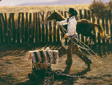 "Tim Cox Hand Signed and Numbered Limited Edition:""In The Bronc Corral"""